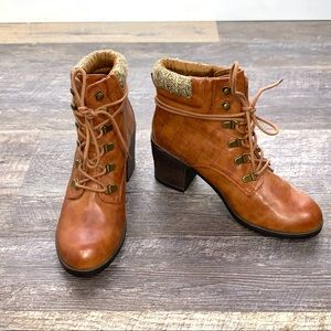 Mia brown ankle chunky heel lace up boots